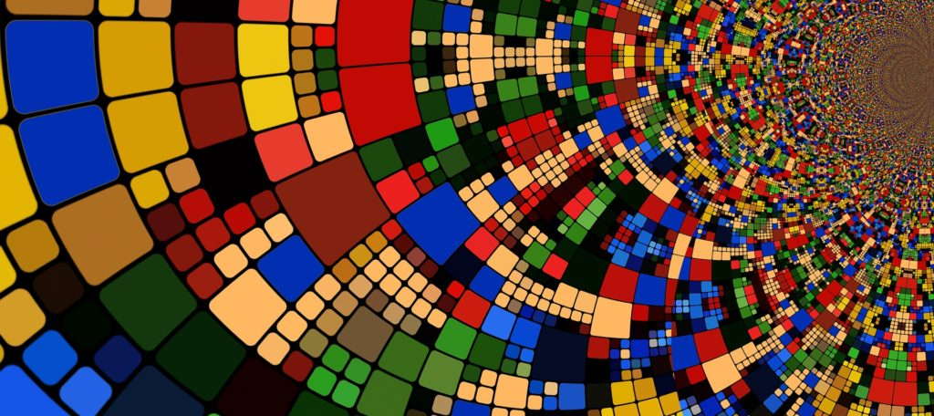 Image of colorful tiles laid out in a spiral