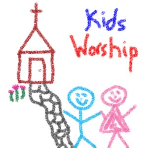 Crayon drawing of two children outside of a church.